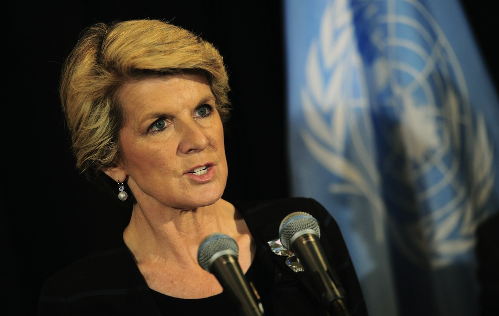 Australian Foreign Minister Julie Bishop addresses the press following an Arms Trade Treaty (ATT) event,  during the 68th United Nations General Assembly, in New York, September 25, 2013. AFP PHOTO/Emmanuel Dunand        (Photo credit should read EMMANUEL DUNAND/AFP/Getty Images)
